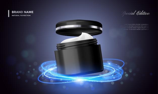 Confezione cosmetica pubblicitaria vasetto di crema premium glitter nero sullo sfondo