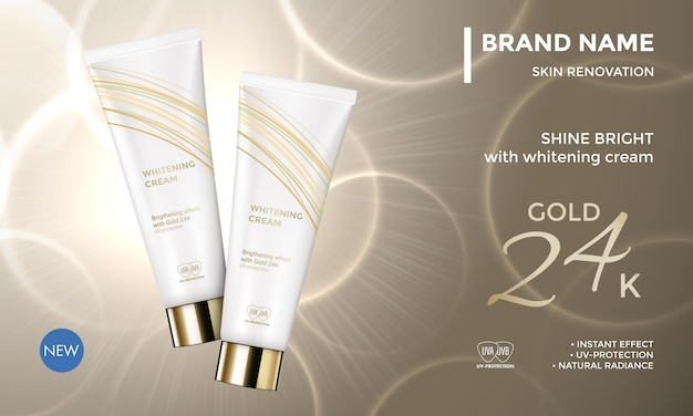 Crema cosmetica idratante per la cura della pelle del modello di pubblicità del pacchetto cosmetico