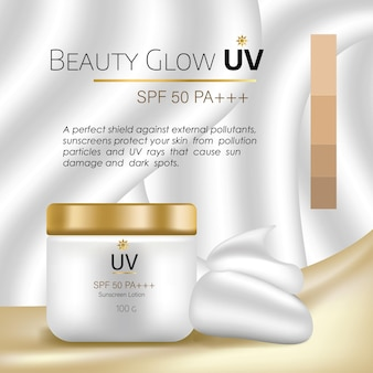 Modello di vettore pubblicitario pacchetto cosmetico per crema per il viso bb o tubo idratante per il tono della pelle
