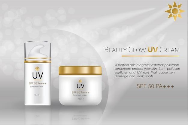 Modello vettoriale pubblicitario pacchetto cosmetico per crema viso bb o crema idratante per il tono della pelle
