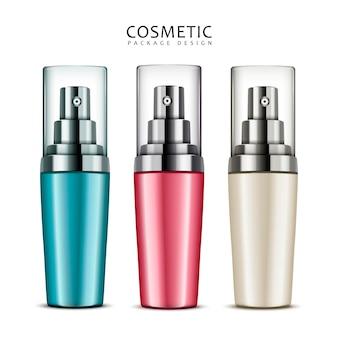 Design del pacchetto cosmetico, flaconi spray vuoti impostati in diversi colori nell'illustrazione 3d, isolati su sfondo bianco