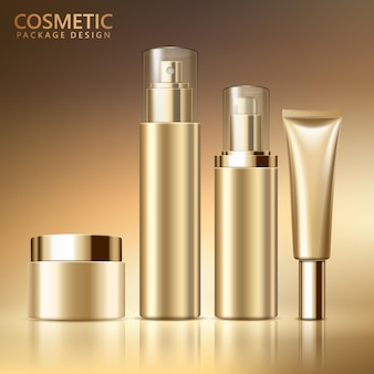 Insieme di progettazione del pacchetto cosmetico, mockup di contenitori cosmetici vuoti in tonalità di colore dorato, illustrazione 3d