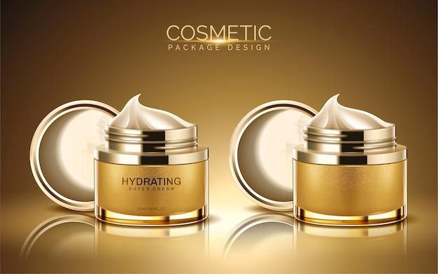 Pacchetto cosmetico, vaso crema di colore dorato con texture crema nell'illustrazione
