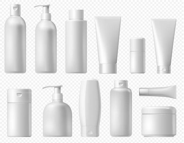 Pacchetto cosmetico. modello di imballaggio bottiglia di shampoo bianco, tubo di crema e lozione per il corpo. pacchetto cosmetico platic bagno bagno mock up isolato su sfondo trasparente.