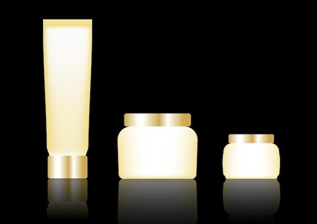 Imballaggio cosmetico, colore oro progettato