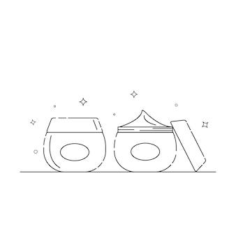 Icone relative all'imballaggio cosmetico delineano su uno sfondo bianco vettore eps 10