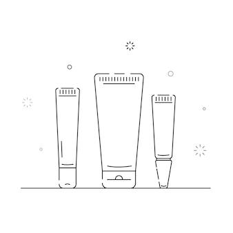 Le icone relative al packaging cosmetico delineano su uno sfondo bianco