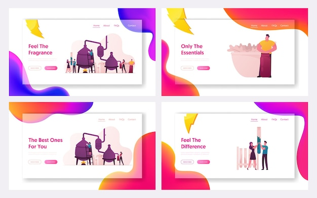 Set di modelli di pagina di destinazione di produzione di profumeria cosmetica.