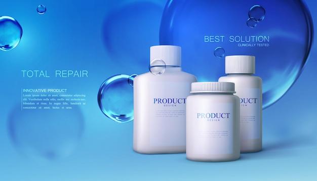 Confezione di prodotti cosmetici o farmaceutici con bolle d'acqua blu trasparenti