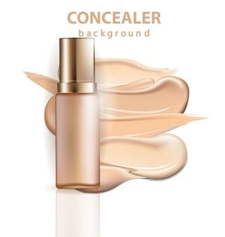 Prodotto cosmetico, fondotinta, correttore, crema con pennellate. bellezza e cosmetici