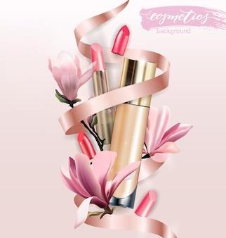Prodotto cosmetico fondotinta correttore rossetto e fiori magnolia beauty backgroundvector