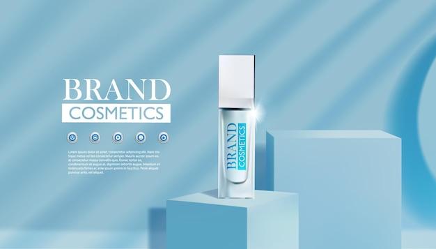 Prodotto cosmetico simulato su un prodotto cosmetico blu podio quadrato come design del marchio di bellezza di lusso