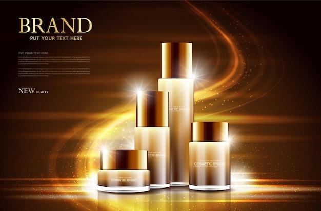 Design della confezione della bottiglia del poster del prodotto cosmetico con crema idratante o sfondo scintillante liquido