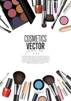 Vettore di realismo dell'assortimento dei prodotti cosmetici