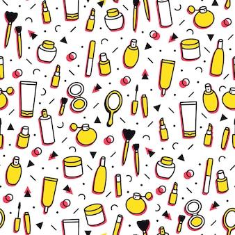 Seamless pattern di prodotti cosmetici. il fumetto compone lo sfondo. rossetto, mascara, profumo, ombretti. modello di cura di trucco e bellezza per negozi in stile linea. illustrazione di bellezza moda.