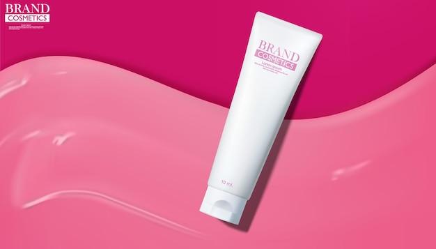 Prodotti cosmetici con crema per la cura della pelle rosa chiaro