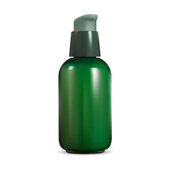 Flacone per pompa cosmetica. lattina di siero erogatore airless. mini contenitore beauty eye essence. flacone dispenser a pompa verde per glitter o gel