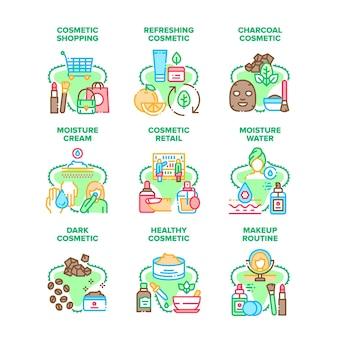 Set di icone di vendita al dettaglio di cosmetici illustrazioni vettoriali. crema cosmetica sana e maschera facciale rinfrescante al carbone scuro, acqua umida e routine di trucco, shopping nel negozio di bellezza illustrazioni a colori