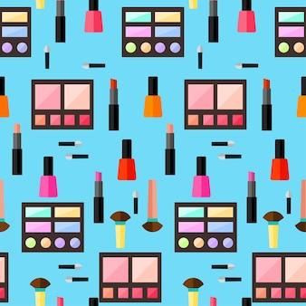 Fondo senza cuciture cosmetico. stile piatto alla moda. prodotti luminosi isolati su un'elegante copertina blu per l'uso nel design