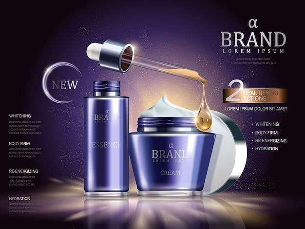 Illustrazione di annunci set cosmetici
