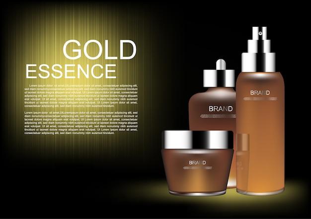 Set cosmetico su sfondo scuro e luce dorata
