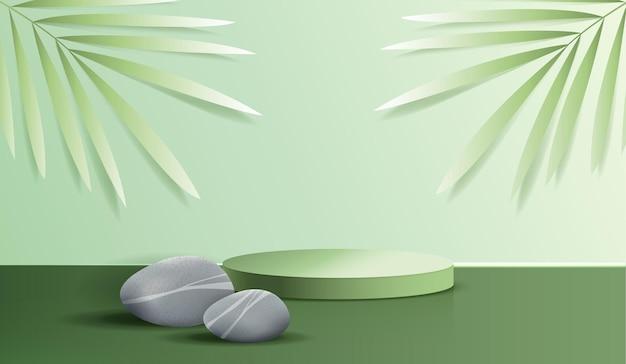 Spa cosmetica su sfondo verde e display da podio premium per il marchio e l'imballaggio di presentazione del prodotto. palco da studio con foglia e pietra. disegno vettoriale.