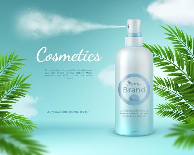 Banner spray cosmetico. poster di prodotti per la cura della pelle naturale con foglie di palma tropicale e nuvole del cielo. modello realistico di vettore della bottiglia dello spruzzatore 3d. cura cosmetica banner, prodotto di illustrazione pubblicitaria