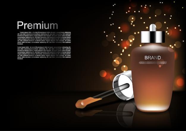 Siero e contagoccia del modello cosmetico su fondo scuro Vettore Premium