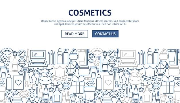 Progettazione di banner di cosmetici. illustrazione vettoriale del concetto di linea web.