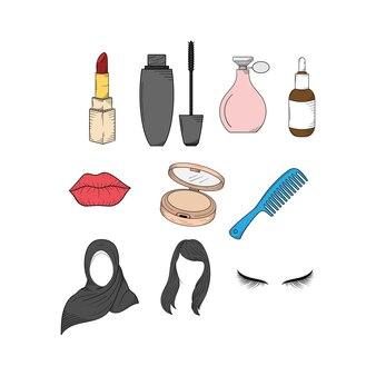 Modello di set di icone di bellezza cosmetici
