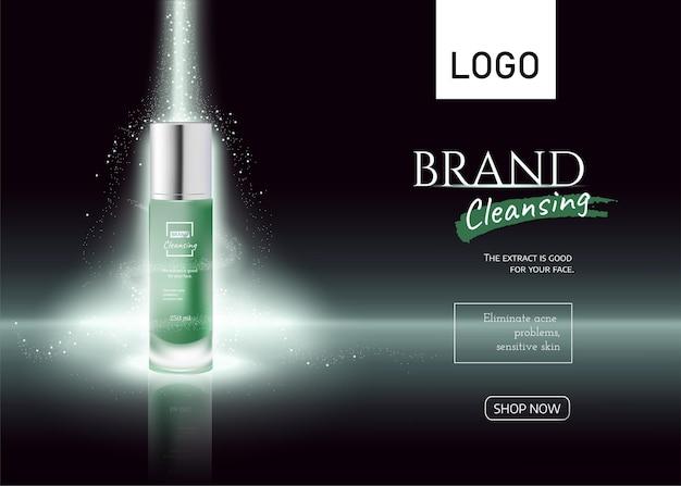 Flacone per cosmetici su annunci di prodotti per tubi cosmetici con banner verde effetto luce vettore 3d realistico