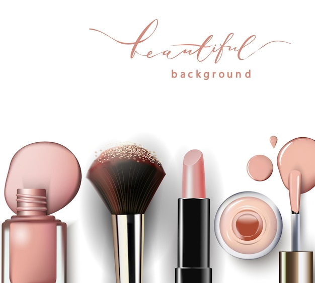 Cosmetici e sfondo di moda con oggetti da truccatore rossetto smalto per unghie template vector