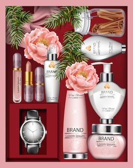 Contenitore di regalo di cosmetici vettore realistico. bottiglie di rossetto, crema o lozione. vista dall'alto floreale de