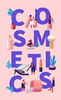 Illustrazione di cosmetici con strumenti di trucco e donne