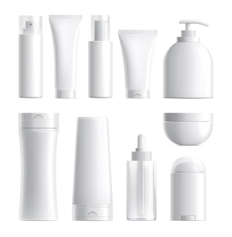 Pacchetto cosmetici. bottiglia isolata. contenitore in plastica di vetro per prodotti di bellezza in bianco realistico. barattolo di crema per tubi 3d per la cura della pelle