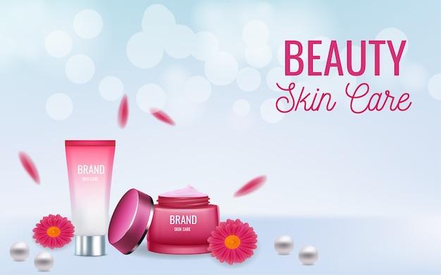 Banner pubblicitario per la cura della pelle del prodotto cosmetico