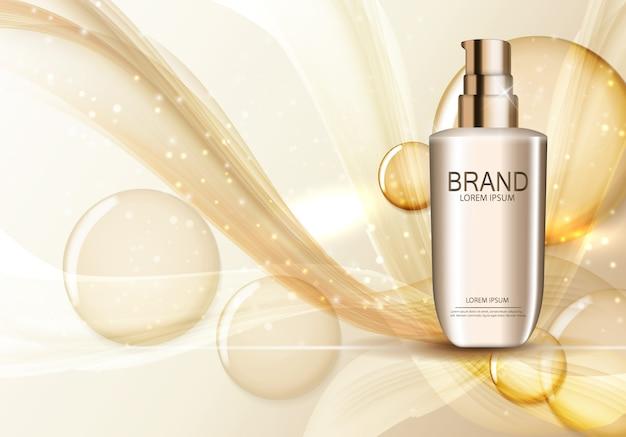 Modello di prodotto di cosmetici per annunci o sfondo di riviste. illustrazione realistica