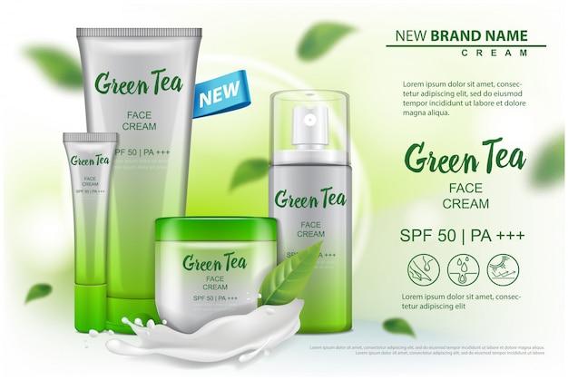 Prodotto cosmetico con pubblicità di estratto di tè verde per catalogo, rivista. del pacchetto cosmetico. crema, gel, lozione per il corpo, spray