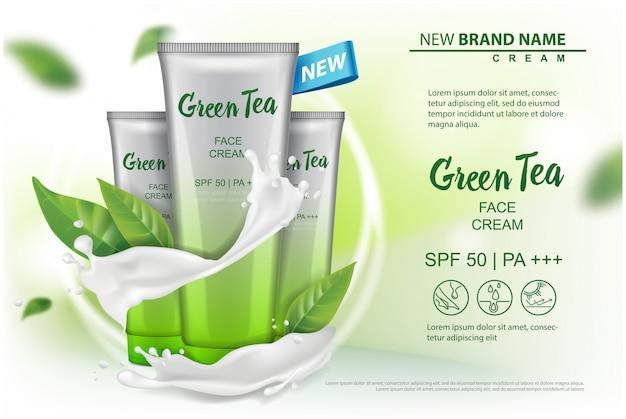 Prodotto cosmetico con pubblicità di estratto di tè verde per catalogo, rivista. del pacchetto cosmetico. crema, gel, lozione per il corpo