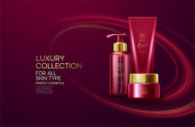 Prodotti cosmetici con composizione collezione di lusso su sfondo rosso onda con polvere glitter.