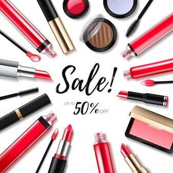 Sfondo di vendita di cosmetici con labbra e prodotti per gli occhi