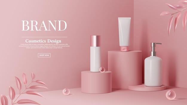 Cosmetici impostano annunci con sfera di vetro sul palco del podio cilindrico rosa e foglie in 3d