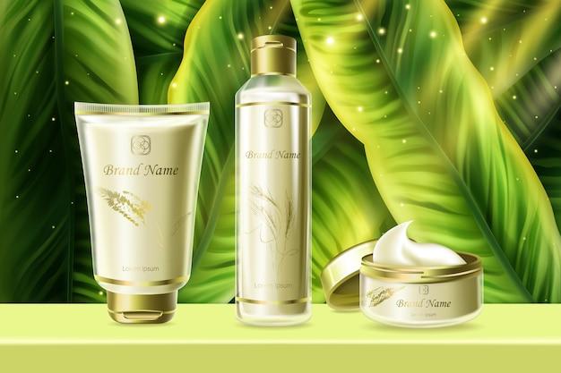 Set di cosmetici per l'illustrazione di umidità per la cura della pelle. prodotto crema idratante a base di erbe estive per la pelle del viso del corpo in tubi o bottiglie con decorazioni di foglie di palma verde, sfondo pubblicitario di cosmetologia