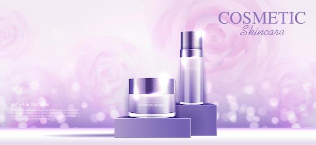 Cosmetici o annunci di prodotti per la cura della pelle in oro bottiglia viola e sfondo scintillante effetto luce vettore