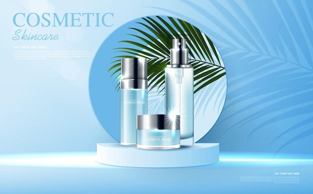 Annunci di cosmetici o prodotti per la cura della pelle con banner pubblicitari per bottiglie per prodotti di bellezza blu e foglia