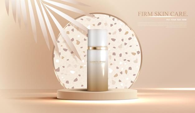 Annunci di cosmetici o prodotti per la cura della pelle con banner pubblicitari per bottiglie per prodotti di bellezza marrone e foglia