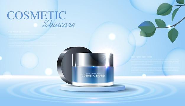 Annunci di cosmetici o prodotti per la cura della pelle con banner pubblicitari su bottiglie per prodotti di bellezza e sfondo foglia