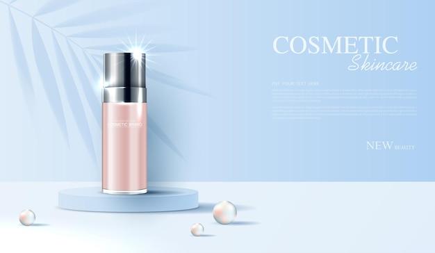 Annunci di cosmetici o prodotti per la cura della pelle con banner pubblicitari per bottiglie per prodotti di bellezza foglia e perla