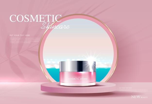 Annunci di cosmetici o prodotti per la cura della pelle con banner pubblicitari per bottiglie per prodotti di bellezza foglia mare sfondo