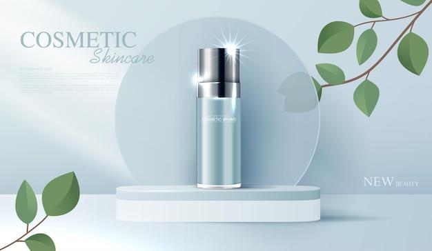 Annunci di cosmetici o prodotti per la cura della pelle con banner pubblicitari per bottiglie per prodotti di bellezza e foglie